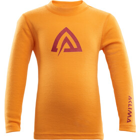 Aclima WarmWool Crew Neck Top Kinderen, cadmium yellow/ tapestry